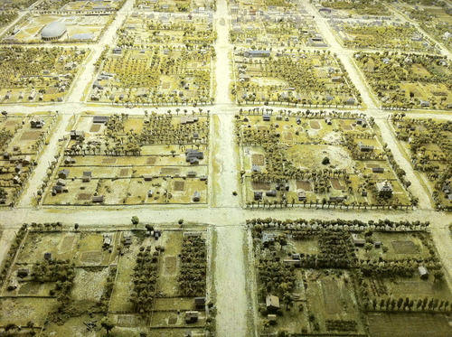 Courtesy | Andres Duany A model of early Salt Lake City shows wide streets, only part of which were actually used for vehicle traffic. Urbanist Andres Duany, who was in Salt Lake City in May, has argued that streets in cities founded by Mormon pioneers originally had unpaved areas and more green space.