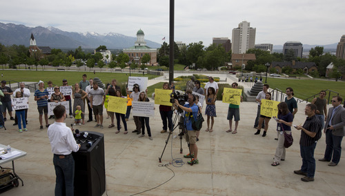 Lennie Mahler  |  The Salt Lake Tribune Pete Ashdown, founder of XMission, speaks to a crowd of protesters and media about the PRISM program, which tracks and stores citizens' personal phone records and internet usage metadata. A crowd of about 25 people protested the NSA program on the steps of the Utah State Capitol on Wednesday, June 12, 2013.