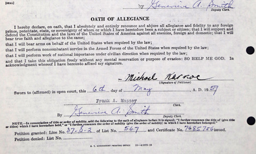 The photo taken June 3, 2013 in Chicago shows the oath of allegiance on Michael Karkoc's petition for naturalization obtained from the U.S. National Archives in Illinois.  The petition was granted.  Karkoc a top commander whose Nazi SS-led unit is blamed for burning villages filled with women and children lied to American immigration officials to get into the United States and has been living in Minnesota since shortly after World War II, according to evidence uncovered by The Associated Press. (AP Photo/M. Spencer Green)