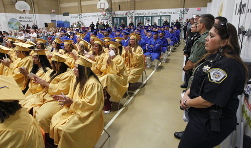 Al Hartmann  |  The Salt Lake Tribune A record-high 360 men and women inmates fill the auditorium for their high school graduation ceremony at the Draper prison Wednesday June 12 to celebrate an important milestone on their paths toward returning to the community as law-abiding citizens. Another 140 inmates will likewise walk in a commencement ceremony at the Central Utah Correctional Facility in Gunnison on June 19.