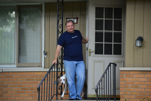 A man who owns the house where Michael Karkoc lived in Minneapolis said that he wasn't home, Friday, June 14 2013. Karkoc 94, a top commander of a Nazi SS-led unit accused of burning villages filled with women and children, lied to American immigration officials to get into the United States and has been living in Minnesota since shortly after World War II, according to evidence uncovered by The Associated Press. He told American authorities in 1949 that he had performed no military service during World War II, concealing his work as an officer and founding member of the SS-led Ukrainian Self Defense Legion and later as an officer in the SS Galician Division, according to records obtained by the AP through a Freedom of Information Act request. (AP Photo/The Star Tribune, Richard Sennott)  MANDATORY CREDIT; ST. PAUL PIONEER PRESS OUT; MAGS OUT; TWIN CITIES TV OUT