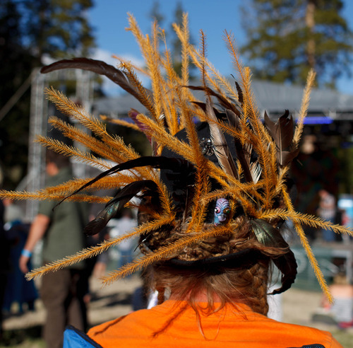 Trent Nelson  |  The Salt Lake Tribune Headwear at the Roots of the Rocks Music Festival at the Eagle Point Ski Resort Saturday, June 15, 2013 east of Beaver.
