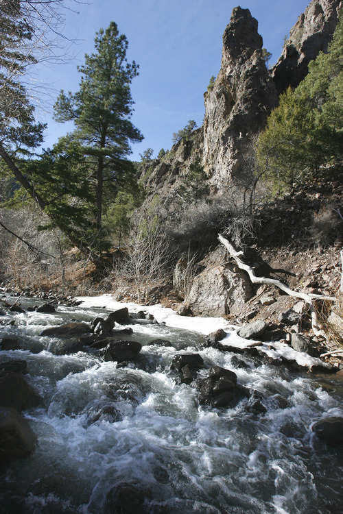 The Beaver River rushes down Beaver Canyon in the Fish Lake National Forest about 15 miles below the Mount Holly Club ski resort.   A proposed golf course at about 10,000 feet could affect the river.  The town of Beaver relies on the river for water.   Salt Lake Tribune staff photo   3/15/07