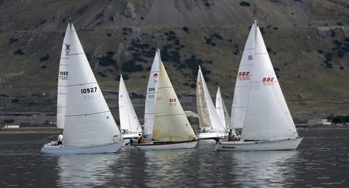 Francisco Kjolseth  |  The Salt Lake Tribune Boats battle for the best wind position during a regatta sailing race on the Great Salt Lake on Wednesday, August 22, 2012.