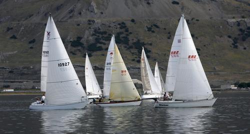 Francisco Kjolseth     The Salt Lake Tribune Boats battle for the best wind position during a regatta sailing race on the Great Salt Lake on Wednesday, August 22, 2012.