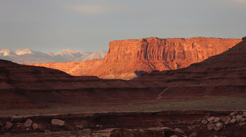 Francisco Kjolseth  |  The Salt Lake Tribune From the snow pacthes on the La Sal Mountains to the buttes of Canyonlands to the White Rim layer, the view from Airport Campground in Canyonlands National Park has a little bit of everything.