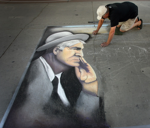 Rick Egan  |  The Salt Lake Tribune  Featured artist Steve Platt works on a chalk drawing Friday, June 14, 2013. More than 140 chalk artists created works of art on the pavement at The Gateway Friday.