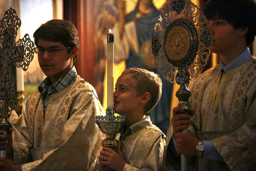 Scott Sommerdorf   |  The Salt Lake Tribune Altar boys during service at Holy Trinity Greek Orthodox Cathedral, Sunday, Sunday, June 9, 2013.