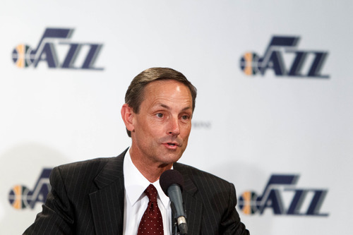 Trent Nelson  |  The Salt Lake Tribune Mike Young, of Young Electric Sign Company, speaks as the Utah Jazz announce a series of improvements to EnergySolutions Arena Monday June 17, 2013 in Salt Lake City.