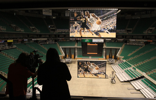 Rick Egan  | The Salt Lake Tribune   A mock-up of the new Jazz video screen at EnergySolutions Arena, Monday, June 17, 2013.