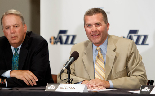 Trent Nelson  |  The Salt Lake Tribune Randy Rigby and Jim Olson, as the Utah Jazz announce a series of improvements to EnergySolutions Arena Monday June 17, 2013 in Salt Lake City.