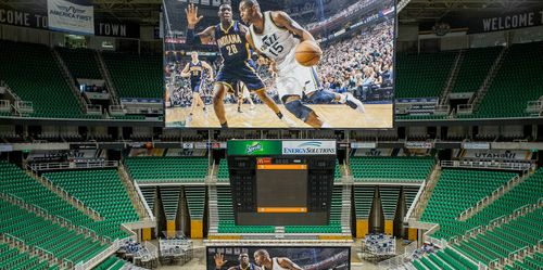 Trent Nelson  |  The Salt Lake Tribune Large prints demonstrate the size of LCD screens to be installed at EnergySolutions Arena as the Utah Jazz announced a series of improvements to the arena Monday June 17, 2013 in Salt Lake City.