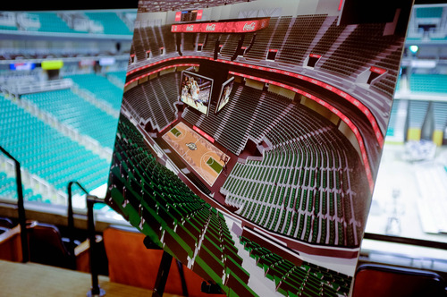 Trent Nelson  |  The Salt Lake Tribune A rendering shows improvements to be installed at EnergySolutions Arena as the Utah Jazz announced a series of upgrades to the arena Monday June 17, 2013 in Salt Lake City.