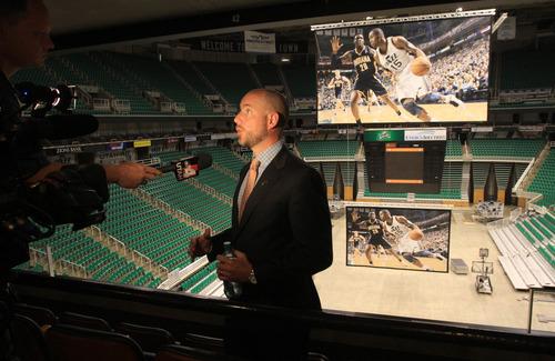 Rick Egan  | The Salt Lake Tribune   Steve Miller talks about the new Jazz video screen at EnergySolutions Arena, Monday, June 17, 2013.