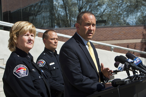 Chris Detrick  |  The Salt Lake Tribune City manager Wayne Pyle speaks during a press conference Friday April 12, 2013. Also pictured are Acting Chief Anita Schwemmer and Deputy Police Chief Mike Powell. City manager Wayne Pyle announced Friday that an internal audit of the police department's now-disbanded narcotics unit unearthed a number of problems, including mishandling of evidence, booking evidence without documentation -- as well as the possibility of missing drugs and money.