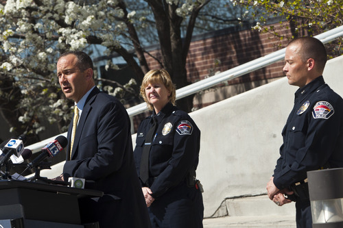 Chris Detrick  |  The Salt Lake Tribune West Valley City Manager Wayne Pyle speaks during a press conference Friday April 12, 2013. Also pictured are acting Police Chief Anita Schwemmer and Deputy Police Chief Mike Powell. Wayne Pyle announced Friday that an internal audit of the police department's now-disbanded narcotics unit unearthed a number of problems, including mishandling of evidence, booking evidence without documentation -- as well as the possibility of missing drugs and money.
