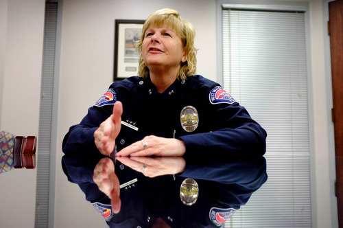 Trent Nelson  |  The Salt Lake Tribune Anita Schwemmer has been named acting chief of the West Valley City Police Department. Wednesday, May 1, 2013 in West Valley City.