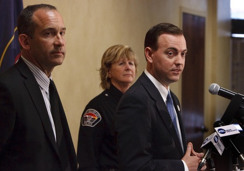 "Leah Hogsten  |  The Salt Lake Tribune West Valley City Mayor Mike Winder (right), flanked by City Manager Wayne Pyle and Anita Schwemmer, West Valley City's acting police chief, said the city must root out ""any and all impropriety"" and establish stronger independent oversight to get its troubled police department back on track at a press conference, April 23, 2013."