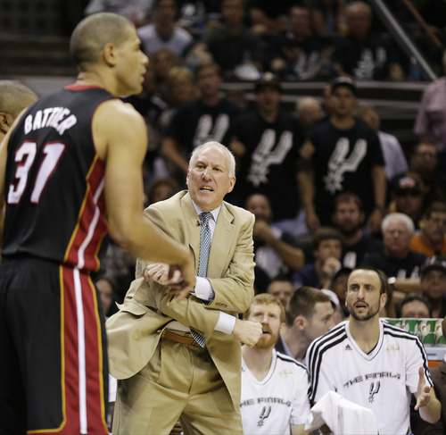 San Antonio Spurs' Gregg Popovich and the bench react as the Miami Heat's Shane Battier (31) passes during the first half at Game 5 of the NBA Finals basketball series, Sunday, June 16, 2013, in San Antonio. (AP Photo/Eric Gay)