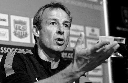 U.S. national soccer team head coach Jurgen Klinsmann talks with reporters following practice session Monday, June 17, 2013, in Sandy, Utah. The U.S. will face Honduras on Tuesday, June 18, 2013, for a World Cup qualifier soccer match. (AP Photo/Rick Bowmer)
