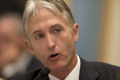 House Judiciary Committee member Rep. Trey Gowdy, R-S.C., sponsor of the Strengthen and Fortify Enforcement Act, speaks on Capitol Hill in Washington, Tuesday, June 18, 2013, during committee's hearing to discuss the Strengthen and Fortify Enforcement Act. The committee in the Republican-led House is preparing to cast its first votes on immigration this year, on a tough enforcement-focused measure that Democrats and immigrant groups are protesting loudly. (AP Photo/Carolyn Kaster)
