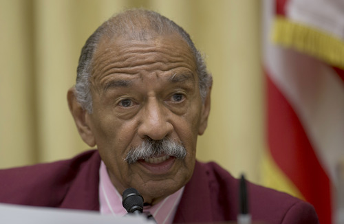 The House Judiciary Committee ranking Democrat, Rep. John Conyers, D-Mich. speaks on Capitol Hill in Washington, Tuesday, June 18, 2013, during the committee's hearing to discuss the Strengthen and Fortify Enforcement Act. The committee in the Republican-led House is preparing to cast its first votes on immigration this year, on a tough enforcement-focused measure that Democrats and immigrant groups are protesting loudly. (AP Photo/Carolyn Kaster)