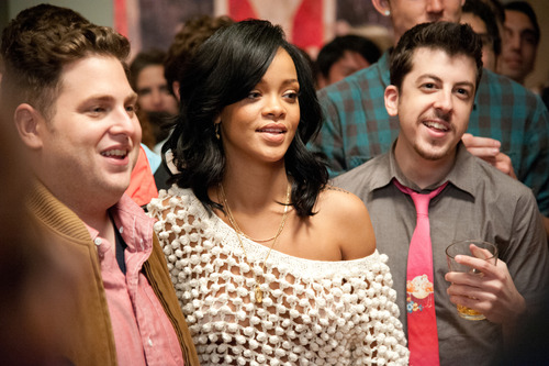 "This film publicity image released by Columbia Pictures shows, from left,  Jonah Hill, Rhianna  and Christopher Mintz-Plasse in a scene from ""This Is The End.""  (AP Photo/Columbia Pictures - Sony, Suzanne Hanover)"