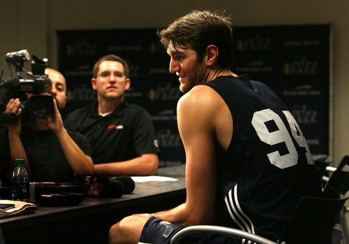 Leah Hogsten  |  The Salt Lake Tribune Jeff Withey, a 7-0 center from Kansas talks about his  Wednesday, June 19, 2013 pre-draft work-out with the Jazz with several other college players at the Zions Bank Basketball Center.