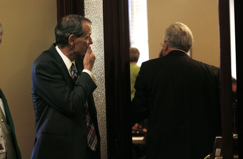 Scott Sommerdorf   |  The Salt Lake Tribune Rep. Brad Dee, R-Ogden, pauses before entering the Republican caucus room, Wednesday, June 19, 2013. Utahns were gathered in the Capitol Rotunda in a show of solidarity to protest alleged corruption in the attorney general's office as House Republicans meet to discuss possible impeachment proceedings against John Swallow.