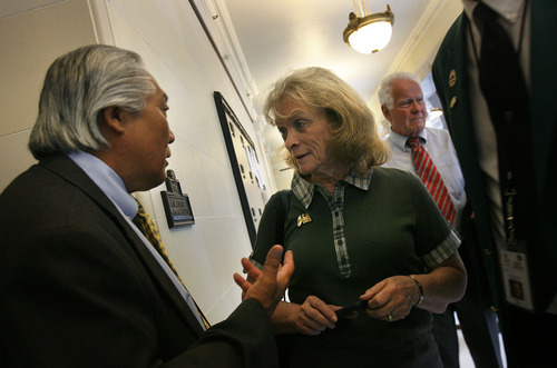 Scott Sommerdorf   |  The Salt Lake Tribune Rep. Curt Oda, R-Clearfield, speaks with Eagle Forum founder Gayle Ruzicka at the entrance to the hallway leading to the Republican caucus room at the Capitol building, Wednesday, June 19, 2013. Utahns gathered at the Capitol Rotunda in a show of solidarity to protest alleged corruption in the attorney general's office as House Republicans meet to discuss possible impeachment proceedings against John Swallow.