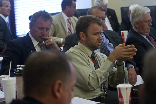 Chris Detrick  |  The Salt Lake Tribune Rep. Johnny Anderson, R-Taylorsville, talks about the possibility of impeaching Attorney General John Swallow in the Utah House Republican caucus room Wednesday June 19, 2013.