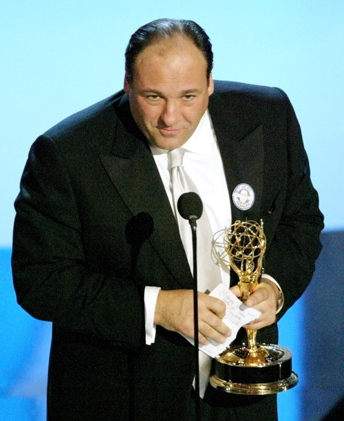 "FILE - This Sept. 21, 2003 file photo shows actor James Gandolfini accepting the award for outstanding lead actor in a drama series for his work on ""The Sopranos"" at the 55th Annual Primetime Emmy Awards in Los Angeles. HBO and the managers for Gandolfini say the actor died Wednesday, June 19, 2013, in Italy. He was 51. (AP Photo/Kevork Djansezian, file)"