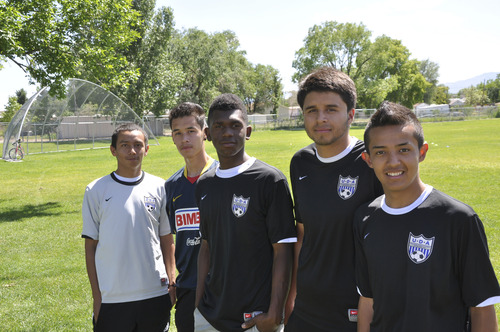 Courtesy of Ben Raskin Jose Torres, left, Luis Menchaca, Xavier Jordan, Juan Garcia and Saul Suarez participated in the MacDonald's Youth Clinic at Glendale Middle School earlier this week.