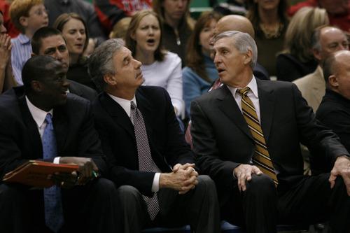 NBA action,  Jazz vs The Mavericks,  Jerry Sloan picked up his 1000th career victory tonight.   Rick Egan/Salt Lake Tribune