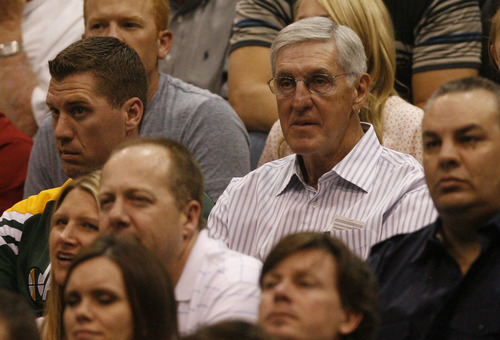 Rick Egan  | The Salt Lake Tribune   Jerry Sloan watches the  Jazz play the Orlando Magic, in Salt Lake City,  Saturday, April 21, 2012