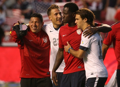 Leah Hogsten  |  The Salt Lake Tribune Nick Rimando (22) of the U.S. celebrates the win with his teammates as they walk the field thanking the sold out crowd. USA defeated Honduras 1-0 at the half during their World Cup soccer qualifying rematch Tuesday, June 18, 2013 at Rio Tinto Stadium.