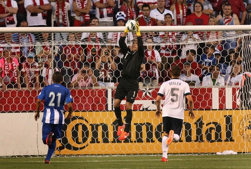 Leah Hogsten  |  The Salt Lake Tribune Tim Howard (1) of the U.S. pulls down a save. USA defeated Honduras 1-0 at the half during their World Cup soccer qualifying rematch Tuesday, June 18, 2013 at Rio Tinto Stadium.