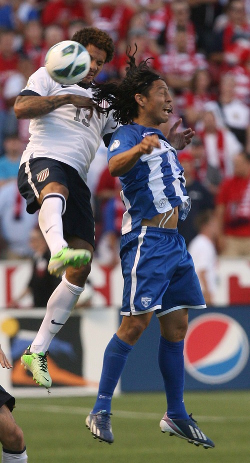 Leah Hogsten  |  The Salt Lake Tribune Jermaine Jones (13) of the U.S. and Honduras' Roger Espinoza (15) take a header. USA defeated Honduras 1-0 at the half during their World Cup soccer qualifying rematch Tuesday, June 18, 2013 at Rio Tinto Stadium.