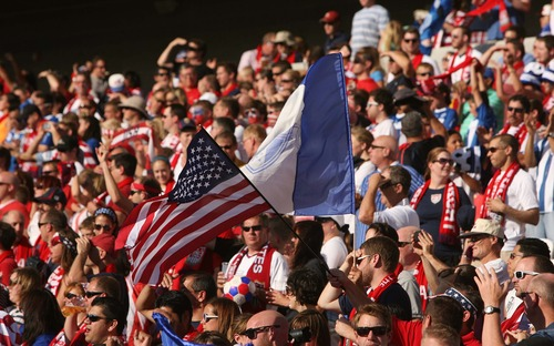 Leah Hogsten  |  The Salt Lake Tribune  USA and Honduras are 0-0 at the half during their World Cup soccer qualifying rematch Tuesday, June 18, 2013 at Rio Tinto Stadium.