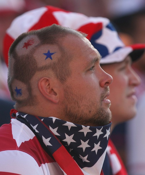 Leah Hogsten  |  The Salt Lake Tribune Jake Bryant of  Cedar City shaved a soccer ball motif into his hair for the match up. USA defeated Honduras 1-0 at the half during their World Cup soccer qualifying rematch Tuesday, June 18, 2013 at Rio Tinto Stadium.
