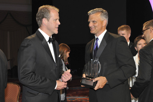| Courtesy Shawn Goff, Ernst & Young Salt Lake City Office Managing Partner, left, and Steve Neeleman, M.D, CEO & Founder of HealthEquity meet at the annual Ernst & Young Entrepreneur of the Year 2013 Awards held June 20 at the Grand America Hotel in Salt Lake City. Neeleman was one of eight Utah CEOs honored.