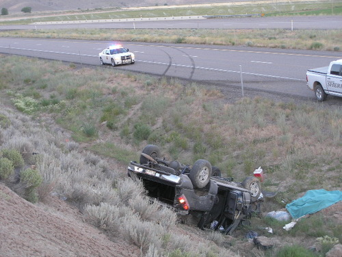 Courtesy Utah Highway Patrol Four people died and their driver suffered minor injuries after their truck rolled just east of Salina on Interstate 70. It appears the driver may have fallen asleep just before 5 a.m. and failed to negotiate a turn, according to the Utah Highway Patrol.