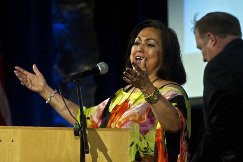 Chris Detrick  |  The Salt Lake Tribune Josie Valdez, Utah Democratic vice chairwoman, speaks during the Utah Democratic Party Organizing Convention at the Ogden Eccles Conference Center Saturday June 22, 2013.