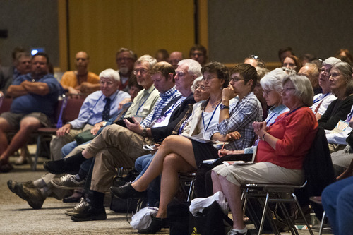 Chris Detrick  |  The Salt Lake Tribune Utah Democrats listen during the Utah Democratic Party Organizing Convention at the Ogden Eccles Conference Center Saturday June 22, 2013.