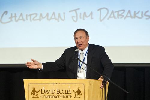 Chris Detrick  |  The Salt Lake Tribune Utah State Senator and State Democratic Party Chairman Jim Dabakis speaks during the Utah Democratic Party Organizing Convention at the Ogden Eccles Conference Center Saturday June 22, 2013.