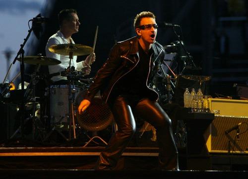 Steve Griffin  |  The Salt Lake Tribune  Bono sings to a screaming crowd during the U2 360 Tour concert at Rice-Eccles Stadium in Salt Lake City, Utah Tuesday, May 24, 2011.