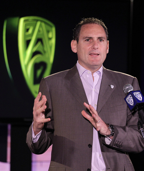 Pac-12 Commissioner Larry Scott, who speaks during the NCAA college basketball Pac-12 media day Thursday, Nov. 1, 2012 in San Francisco, announced Monday of a new bowl deal between the Pac12 and Big Ten. (AP Photo/Eric Risberg)