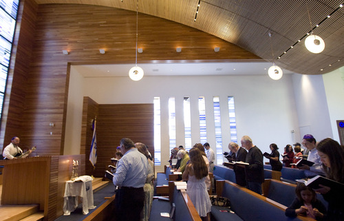 Kim Raff  |  The Salt Lake Tribune Rabbi Joshua Aaronson leads a Shabbat service in the sanctuary of  Temple Har Shalom in Park City on May 31, 2013. Rabbi Aaronson will be leaving the congregation at the end of the month.