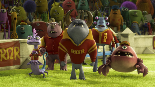 """Johnny Worthington (center) is the head of the fraternity Roar Omega Roar in """"Monsters University."""" The character's voice is provided by actor Nathan Fillion."""
