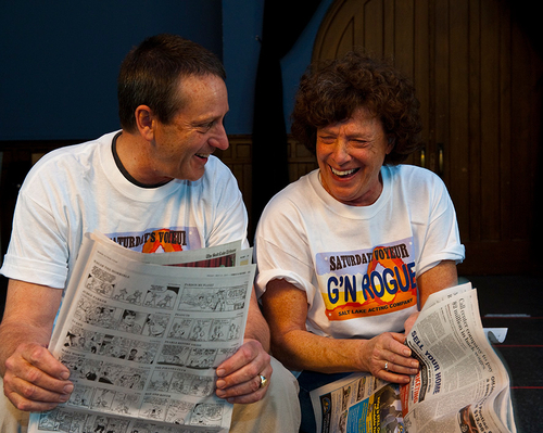 """Allen Nevins (right) and Nancy Borgenicht of Salt Lake Acting Company have been writing """"Saturday's Voyeur,"""" Utah's home-grown stage satire, since 1992. The production will celebrate its 35th year with a new version playing June 26-Sept. 1. Credit: Courtesy Salt Lake Acting Company"""